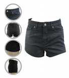 Wholesale Womens Ex High Street Denim Mom Shorts Distressed Fray Black